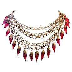 1920's ART DECO Regal Red GLASS Drops Cascade Bib Necklace