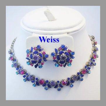 WEISS Scarce PURPLE & FUCHSIA Pink Rhinestones & Enameled Necklace & Earrings