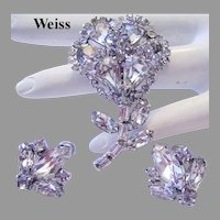 1940's WEISS Dazzling RARE Sparkling RHINESTONES Dress Clip & Earrings