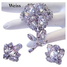 1940's WEISS Dazzling RARE Sparkling RHINESTONES Dress Clip & Earrings