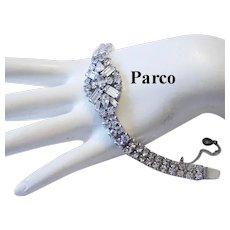 1940's PARCO Baguette Pear Marquise & Round RHINESTONES Bracelet
