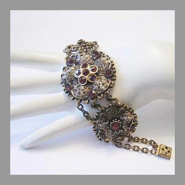 1920's VICTORIAN Revival Ornate PURPLE / Amethyst Paste Rhinestones Bracelet