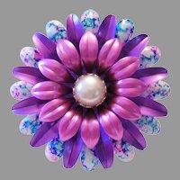 1960's Large TIE DYE & Pink & Purple Enamel HIPPIE / Flower Child Pin