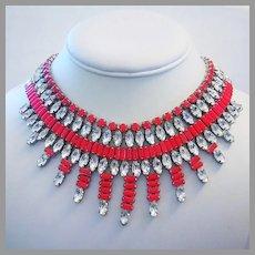 1977 RUNWAY Sizzling Hot NEON Strawberry & Diamond Like RHINESTONES Bib Necklace