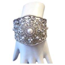 1970's BOLD Beautiful Rhinestone & Faux Pearl ORNATE CUFF Bracelet