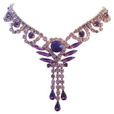 1960's Shades Of PURPLE Rhinestones Dangling Necklace