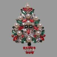 1970's FABULOUS Designer Faux Pearl & Rhinestones CHRISTMAS Tree Pin