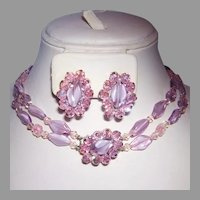 1960's Lavender & PINK Art Glass CARVED Glass & Crystal NECKLACE & Earrings