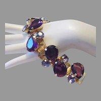 1950's Bold PURPLE Huge Pear Shape RHINESTONES Impressive Bracelet