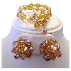 1950's HONEY Crystal Wire Wrap BRACELET & Earrings