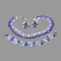 1960's Sublime PURPLE / Heavenly Blue CRYSTALS & Opal Glass Strung On CHAIN Necklace Bracelet Earrings PARURE