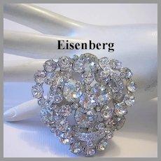 EISENBERG Exquisite Dimensional BRILLIANT Rhinestone Pin With ICING Overlays