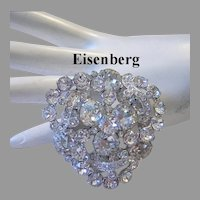 EISENBERG Exquisite Dimensional BRILLIANT Rhinestone Pin With ICING Overlays
