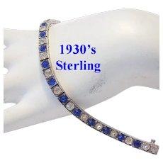 1930's ART DECO Sterling & Cobalt Rhinestones LINE Bracelet