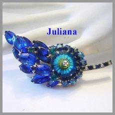 JULIANA Rivoli Cobalt & TEAL Rhinestones PIN / Brooch