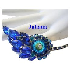 JULIANA Rivoli Cobalt & TEAL Rhinestones PIN / Brooch