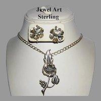 1940's STERLING Art Nouveau Design JEWEL ART Pin & Earrings