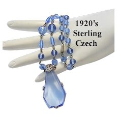 1920's Signed Czech AZURE Blue Glass & STERLING Silver Decadent Necklace