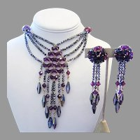 1960's RUNWAY Purple & Vitrail CRYSTAL Unique Bib Necklace & LONG Earrings
