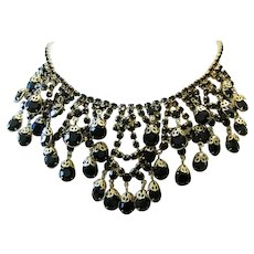 1960's Dramatic JET Black Open Back RHINESTONES & Filigree Caps BIB Necklace