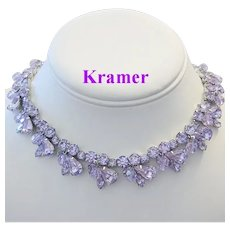 KRAMER Color Changing ALEXANDRITE Rhinestones & Crystals Necklace