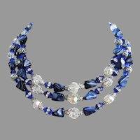 1960's IMPRESSIVE Stone Glass Crystal & RHINESTONES Triple Strand BIB Necklace