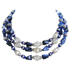 1960's IMPRESSIVE Stone Glass Crystal & RHINESTONES Triple Strand BIB Necklace