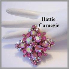HATTIE CARNEGIE Dazzling PINK Rhinestones Dimensional PIN/ Brooch