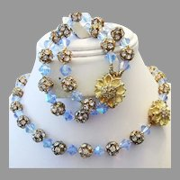 1960's AZURE Blue Beyond BRILLIANT Crystal & RHINESTONE Rondells Necklace & Bracelet