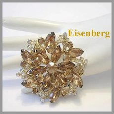 EISENBERG Dimensional Taupe RHINESTONES & Icing Pin / Brooch