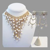 1960's Glitzy CASCADING Lustrous Faux Pearls & RHINESTONES Waterfall Necklace & Chandelier Earrings