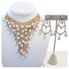 1960's Glitzy CASCADING Lustrous Faux Pearls & RHINESTONES Waterfall Necklace & Chandelier Earrings