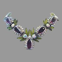1960's OPULENT Showstopping Purple & Olivine RHINESTONES Master Of Design Necklace