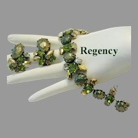 REGENCY Olivine & Golden RHINESTONES Superb Bracelet & Earrings