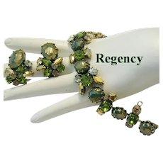 REGENCY Olivine & Golden RHINESTONES Superb Bracelet & Earrings