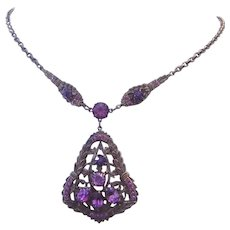 1920's Art DECO / Art Nouveau Oval & Round PURPLE / Amethyst Rhinestones BRASS Necklace