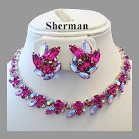 1960's SHERMAN Shimmering Fuchsia / Deep PINK Rhinestones Captivating NECKLACE & Earrings