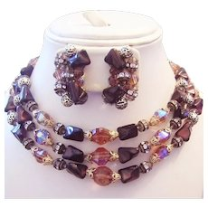 1960's Stone GLASS Crystal & RHINESTONES Triple Strand BIB Necklace & Earrings