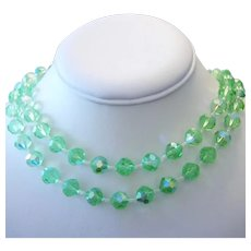 1950's PERIDOT Sparkling Crystals 2 STRAND Necklace With FANCY Clasp
