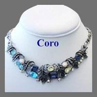 CORO Book Piece High End Colorful Rhinestones Necklace