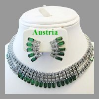 1960's AUSTRIA ALLURING Black Diamond / Gray & Emerald Baguette Rhinestones Necklace & Earrings