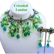 CRISTOBAL LONDON Lavish Glass RHINESTONE & Crystal BIB Necklace & Long Dangling Earrings