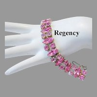 REGENCY 2 Shades Of PINK Rhinestones Bracelet