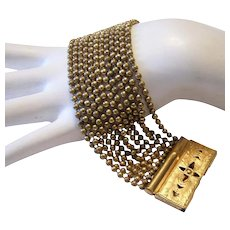 1930's VICTORIAN Revival Fabulous Wide 12 Row BRASS Ball Chain Bracelet