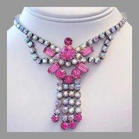 1950's PINK Baguettes & Brilliant RHINESTONES Dangling Necklace