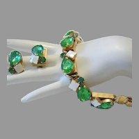 1950's BOLD Peridot Rhinestones & Mother Of Pearl BRACELET & Earrings