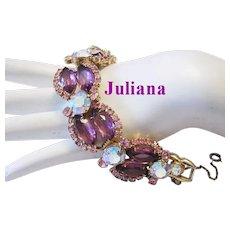 JULIANA Purple / Plum & PINK Marquise Rhinestones BOLD Bracelet