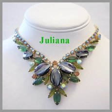 JULIANA Book Piece SCOOPED Out Hematite & Olivine RHINESTONES Dynamic Necklace