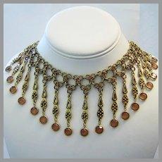 1960's COGNAC Bezel Set Rhinestones Dangling Bib DESIGNER Necklace