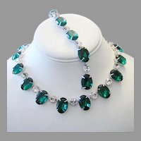 1960's Bold OVAL Emerald Green RHINESTONES Necklace & Bracelet